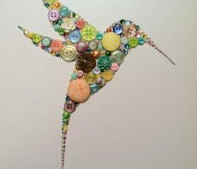 Button Hummingbird Button Art Button and Swarovski Hummingbird