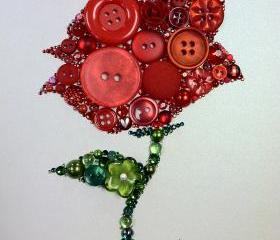 Rose Button Art Button & Swarovski Rose